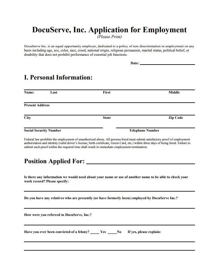 Docuserve Employment Application_Marlborough Jobs MA